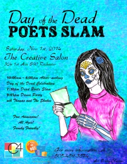 Poster from Day of the Dead Poets Slam 2014. Poster art by Bobby Marines.