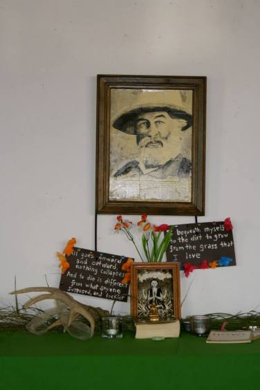 An altar dedicated to Walt Whitman, designed and created by Darin Podulke-Smith.