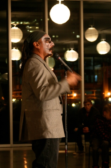 Danny Solis, MC for Day of the Dead Poets Slam.
