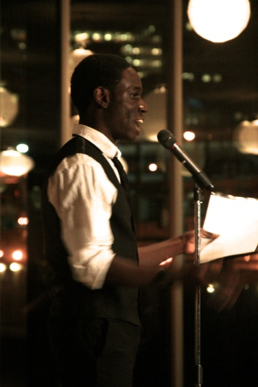 Dominique Jones as Langston Hughes.