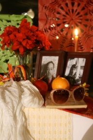 Altar dedicated to Langston Hughes and Sylvia Plath.