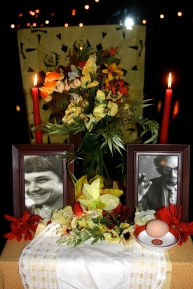 An altar dedicated to Adrienne Rich and Allen Ginsberg.